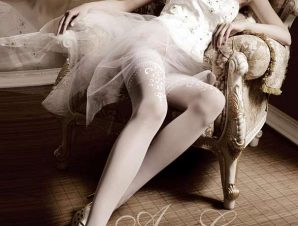 2200 BA Λευκές κάλτσες με σιλικόνη και δαντέλα-Ασπρο