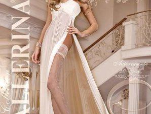 2242 BA Λευκές κάλτσες με σιλικόνη και δαντέλα-Ασπρο
