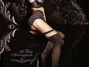 2252 BA Μαύρες κάλτσες με κέντημα και χωρίς σιλικόνη -Μαύρο